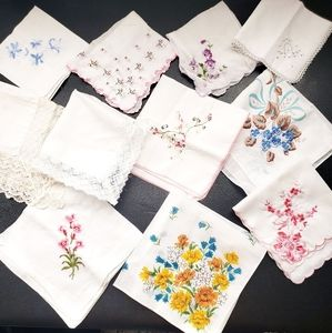 Vintage Hankie Lot of 11 Floral Print Embroidered